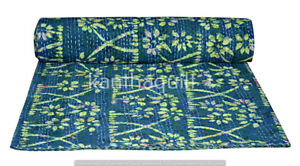 Indian Art Kantha Queen Quilt Handmade Block Reversible Blanket Throw