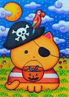 ACEO Original Fantasy Animal Halloween Cat Pirate Parrot Trick r Treat Moon
