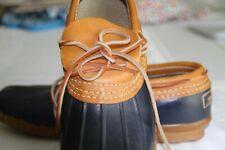 LL Bean Moc Low Ankle Blue Tan Duck Boots