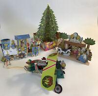 Vintage 3D Pop Up Paper Christmas Card Ornaments Tree Santa Train Plane Nativity