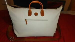 """Bric's Life Leather & Cream vinyl 27"""" 15"""" 9"""" large Carry satche Bag TOTE"""