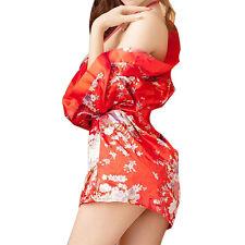 Women Sexy Lingerie Kimono Bathrobe Deep V Three Point Erotic Pajamas Underwear
