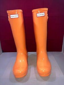 Hunter Rain Boots Original Gloss Orange Size 5G/4B US