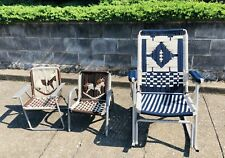 VINTAGE SET 3 ALUMINUM Folding LAWN CHAIR ROCKING CHAIR MACRAME WEBBING Child