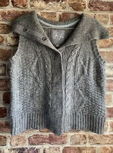 Ladies Fat Face Gillet Waistcoat Grey Wool Cable Knit Size 16 Lightly Worn