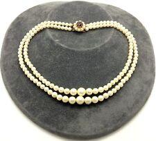 Antique Art Deco 9ct Gold Garnet & Pearl Double Strand Choker Necklace