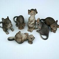 Mäuse Dekofigur Tierfigur Nager grau 6er Set Maus Tier Tiere Deko Wild