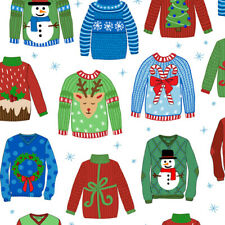 Christmas Fabric, BTY, Ugly Christmas Sweaters, 27828-Z, White, TheFabricEdge