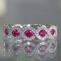 Ruby Gemstone Solid Silver Band Ring Women's Trendy Fine Jewelry Size 6-10