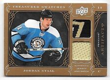09/10 UD Artifacts Treasured Swatches Jordan Staal Dual Jersey & Patch #25/35