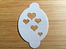 Face paint stencil reusable washable cascade of hearts Mylar 2.5 in x 1.75