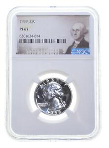 1958 PF67 Proof Washington Quarter NGC Graded - White Coin Spot Free PR67 *0519