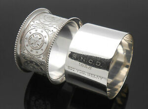 2x Silver / White Metal Napkin Rings - Initial 'H' And RNCD 1935 Relay Race