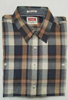 NWT WRANGLER Slim Fit Plaid Shirt Orange Brown XL New 'Flex for Comfort'