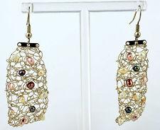 Handmade Vintage 925 Sterling Silver Crocheted Hook Earrings w/Freshwater Pearls