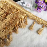12 Yards Curtain Tassel Fringe Edging Trim Bead Sewing Crafts Cushions Decor