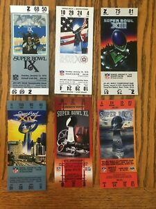 Six replica Pittsburgh Steeler Superbowl Tickets SB IX X XIII XIV XL XL & XLIII