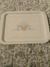 Hallmark Metal Tray White with Basket of Flowers