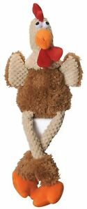 goDog Checkers Skinny Rooster Chew Guard Technology Tough Plush Dog Toy Large