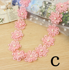 1 Yards Flowers pearl Lace Wedding dress clothing Crochet Trim accesories crafts
