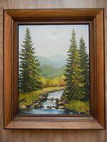 Oil Painting Landscape Mountain River Forest trees Carpathians Ukraine