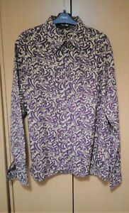 PAUL SMITH  BURGUNDY & BEIGE PSYCHEDELIC  PATTERN SHIRT  LARGE 44''