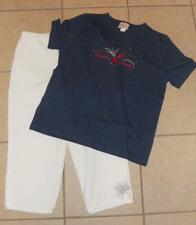 Large 14 / 16 White Cropped Pants & Shirt Patriotic 2 Pc Outfit QUACKER FACTORY