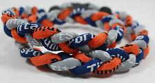 "Wholesale Lot 12 Titanium Tornado Sport Necklaces 20"" Navy Orange Blue Gray Grey"