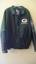 GREEN BAY PACKERS GREEN AND BLACK LEATHER JACKET, SUPER BOWL XXXI, 1997, MEDIUM