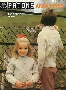 """KNITTING PATTERN CHILD'S SWEATER CABLE  ARAN STYLE PATONS CAPSTAN 24 26 28 30"""""""