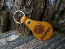 Scania key chain DOUBLE SIDED Genuine leather trucker key ring 412