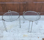 2+AUTHENTIC+Vintage+Saporiti+Chrome+Glass+Round+Stacking+Nesting+Tables+Mcm
