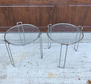 2 AUTHENTIC Vintage Saporiti Chrome Glass Round Stacking Nesting Tables Mcm