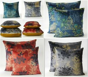 Printed Velvet Cushion Covers Small or Large Floral and Classics Plain Reverse