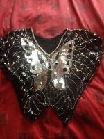 Vintage Sequin Butterfly Top Silver And Black
