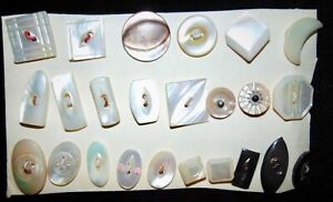 SALE 24 Sm/Med Vintage Pearl Buttons #620A
