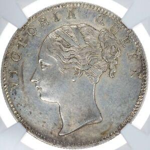 India British Victoria Queen AR Rupee 1840 B NGC AU Details