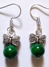 Silver butterfly insect and green jade bead earrings - jewellery