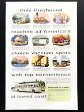 1954 Vintage Print Ad GREYHOUND Bus 50's Illustration Vacation Travel