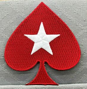 POKER LARGE RED SPADE IRON/SEW ON CLOTHING PATCH - 8 x 8.5 cm STARS