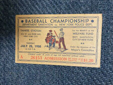AWESOME NYPD relic 1950 baseball championship at Yankee Stadium Original ticket