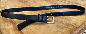 Made In Italy Thin Black Genuine Leather Gold Tone Buckle Belt Women's S 30 - 34