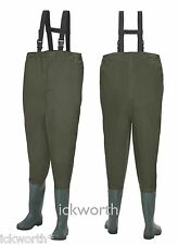 FISHING NYLON CHEST WADERS - WATERPROOF ELASTICATED FLY COARSE BOOTS MUCK WADER