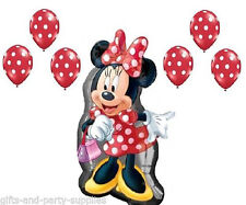Disney Minnie Mouse Full Body Balloon + Red Polka Dots Birthday Party supply 7pc