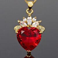 Damen Schmuck 18K Gold Vergoldet Herz Rot Rubin Geschenk Anhaenger Halskette