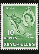 SEYCHELLEN INSELN SPEERFISCH SAILFISH KÖNIGIN ELIZABETH 10 RUPEES UNGEBRAU 1954