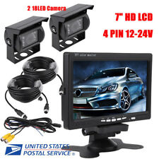 "7"" HD Waterproof LCD Car Rear View Monitor Backup Camera for Truck RV Trailer"