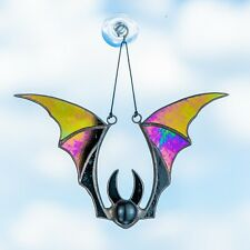 Halloween iridescent vampire bat stained glass suncatcher for window decoration