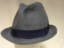 Jill Corbett fedora hat pure irish linen blue/grey  handmade in England S/M/L/XL