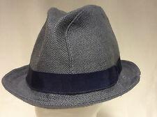 Jill Corbett FEDORA CAPPELLO puro lino irlandese blu / grigio fatto a mano in Inghilterra S / M / L / XL